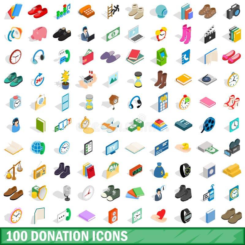 100 icônes de donation réglées, style 3d isométrique illustration de vecteur