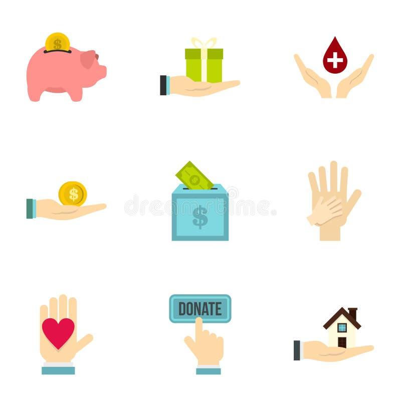 Icônes de donation réglées, style plat illustration de vecteur