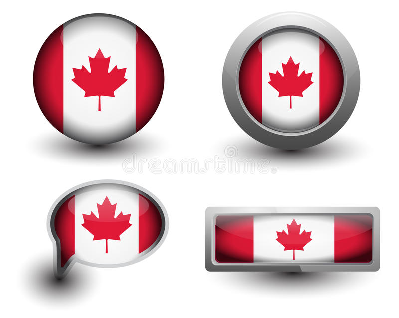 Icônes de drapeau de Canada illustration stock