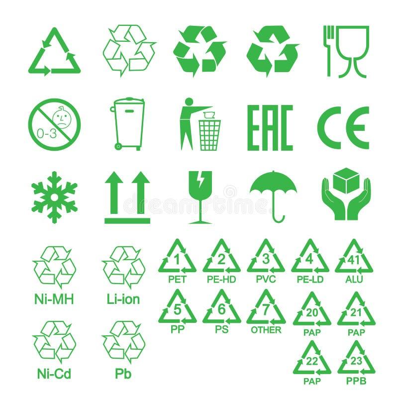 Ic?nes de empaquetage, ensemble de signes de paquet Illustration de vecteur, conception plate illustration stock
