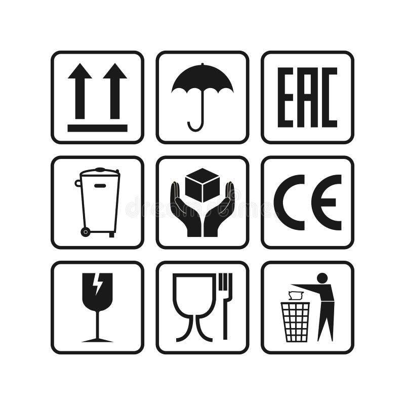 Ic?nes de empaquetage, ensemble de signes de paquet Illustration de vecteur, conception plate illustration de vecteur