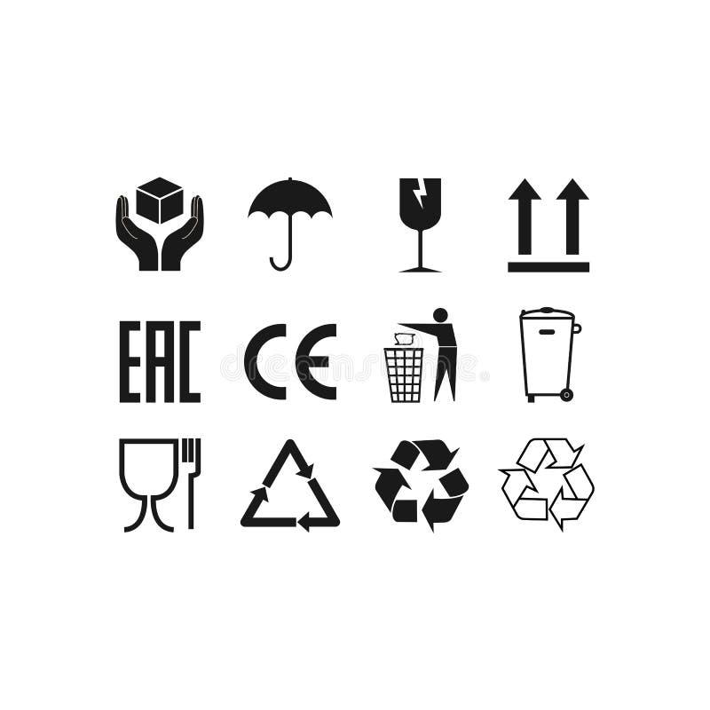 Ic?nes de empaquetage, ensemble de signes de paquet Illustration de vecteur, conception plate illustration libre de droits