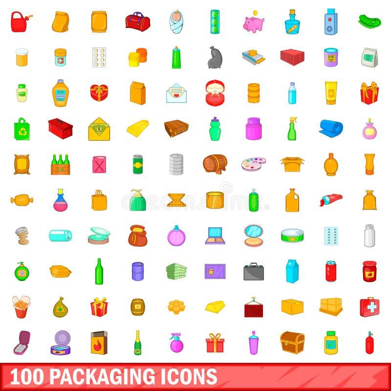 100 icônes de empaquetage réglées, style de bande dessinée illustration libre de droits