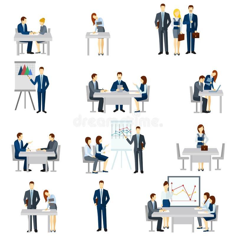 Icônes de entraînement d'affaires réglées illustration de vecteur