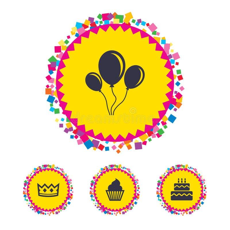 Icônes de fête d'anniversaire Symbole de gâteau et de petit gâteau illustration stock