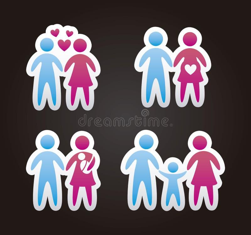 Icônes de famille illustration de vecteur
