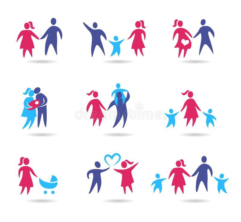 Icônes de famille illustration stock
