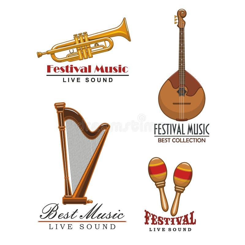 Icônes de festival de musique de vecteur des instruments de musique illustration stock
