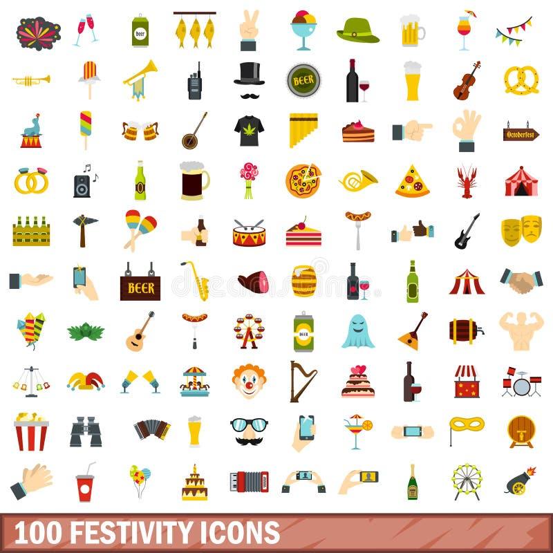 100 icônes de festivité réglées, style plat illustration libre de droits