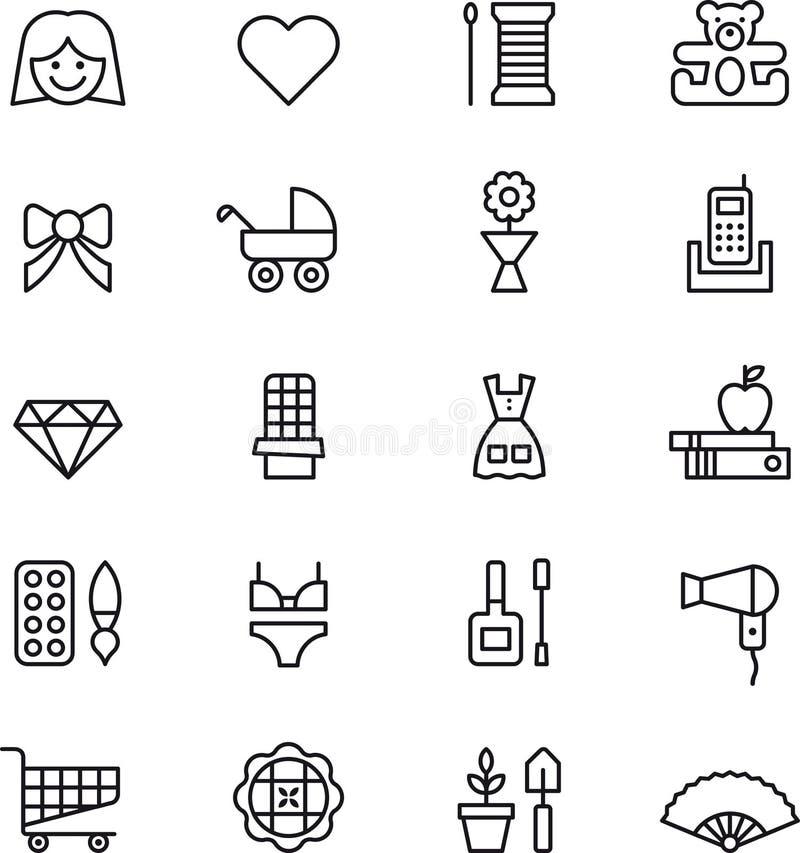 Icônes de fille et de femme illustration stock