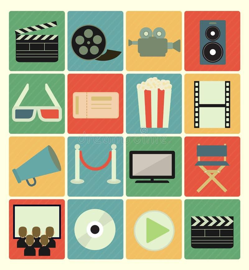 Icônes de film réglées illustration stock