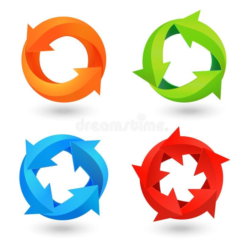 Icônes de flèche de cercle réglées illustration de vecteur