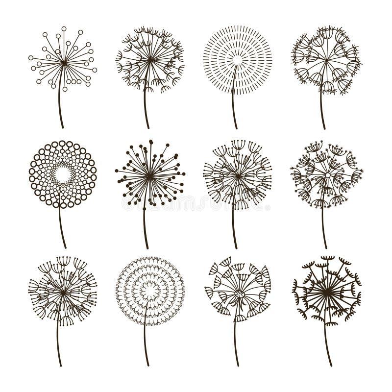 Icônes de fleur de pissenlit Silhouettes pelucheuses de vecteur de graines de pissenlits illustration libre de droits