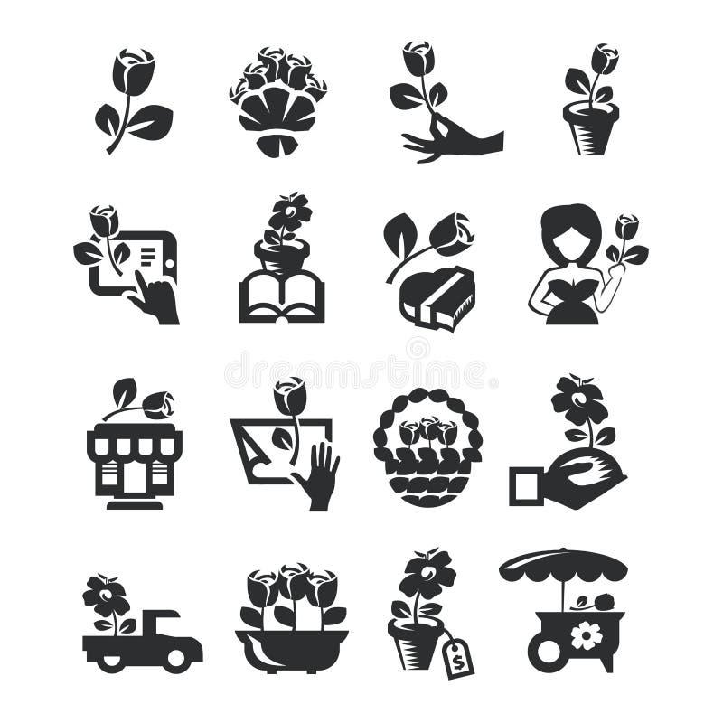 Icônes de fleuriste illustration libre de droits
