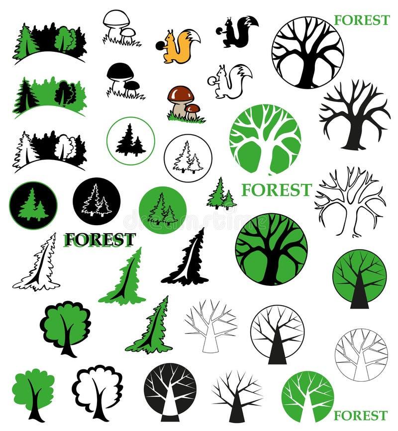 Icônes de forêt illustration stock