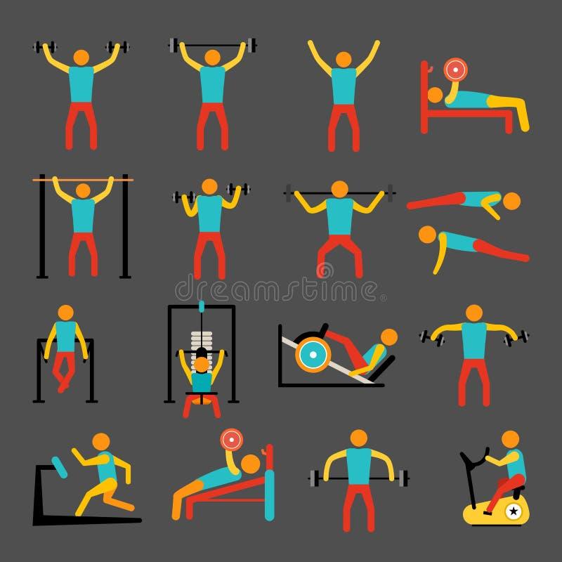 Icônes de formation de séance d'entraînement réglées illustration stock