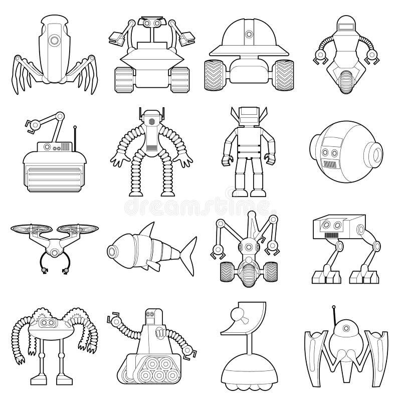 Icônes de formes de robot réglées, style d'ensemble illustration stock