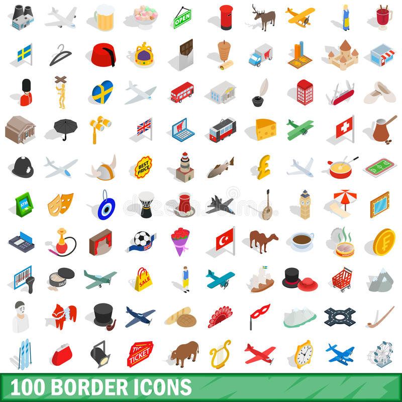 100 icônes de frontière réglées, style 3d isométrique illustration de vecteur