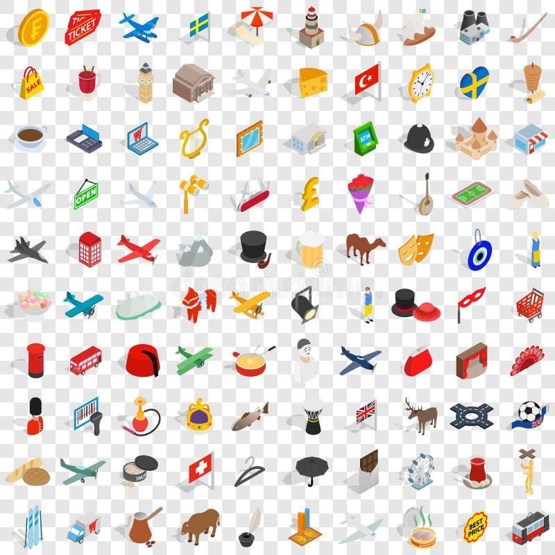 100 icônes de frontière réglées, style 3d isométrique illustration stock