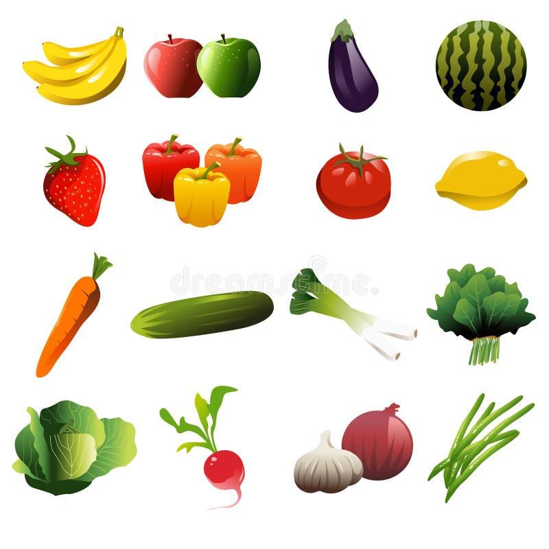 Icônes de fruits et légumes illustration de vecteur