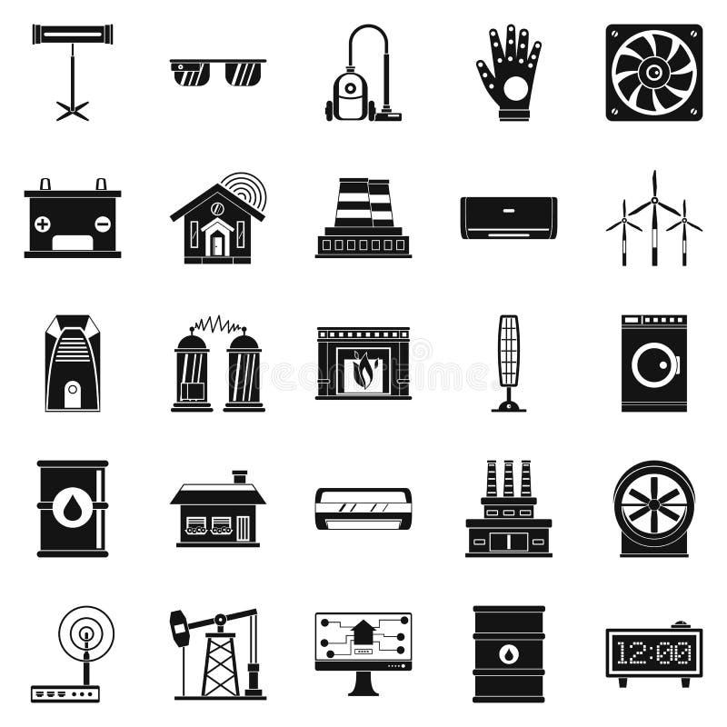 Icônes de générateur réglées, style simple illustration stock
