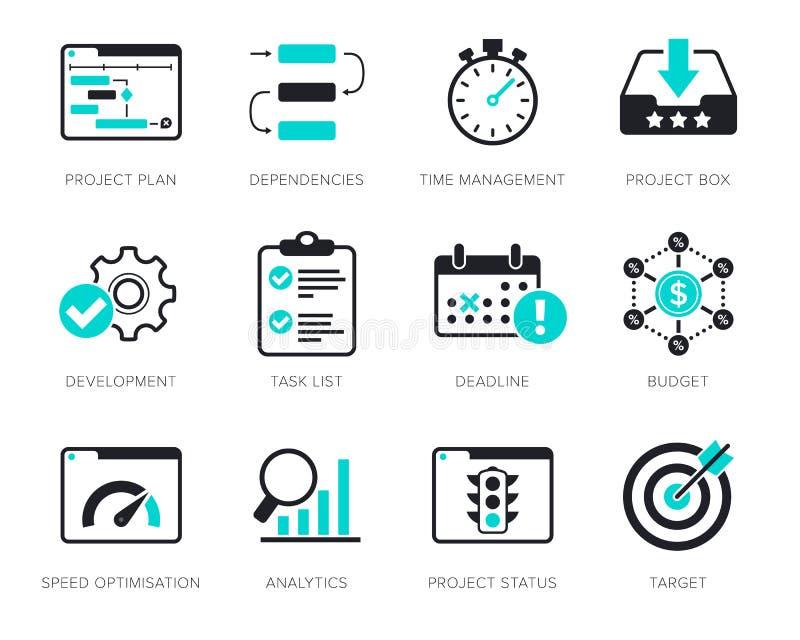 Icônes de gestion des projets réglées illustration de vecteur