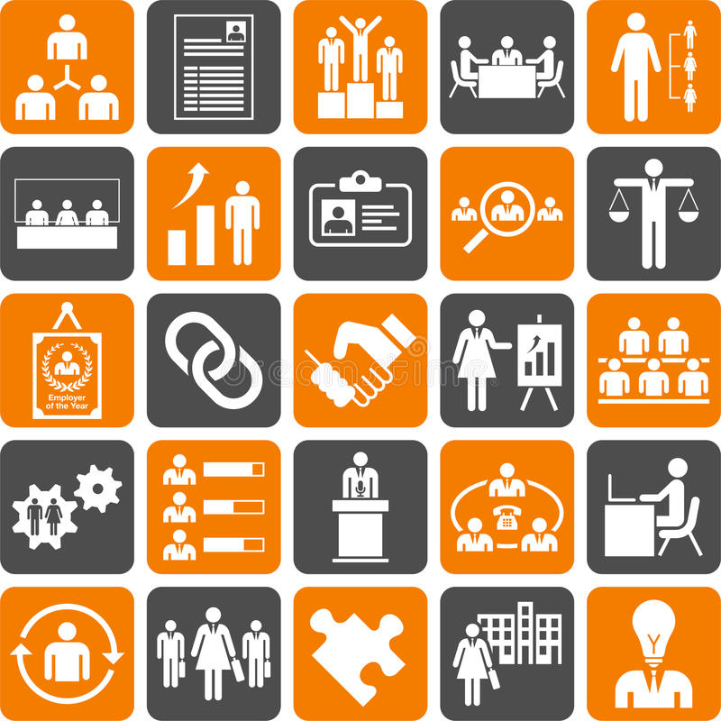 Icônes de gestion des ressources de Huma illustration stock