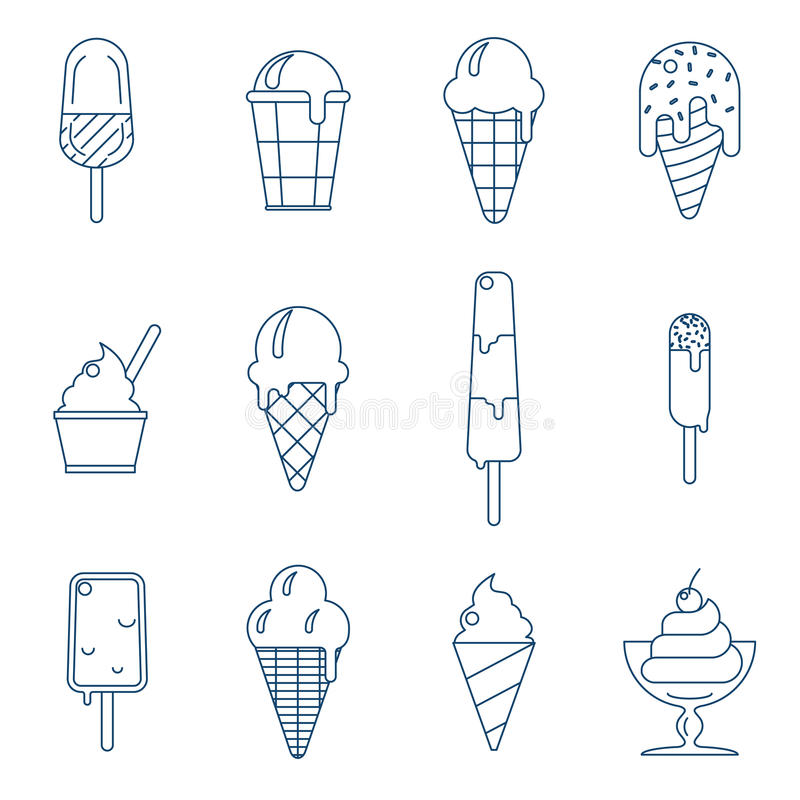 Icônes de glace de schéma illustration libre de droits