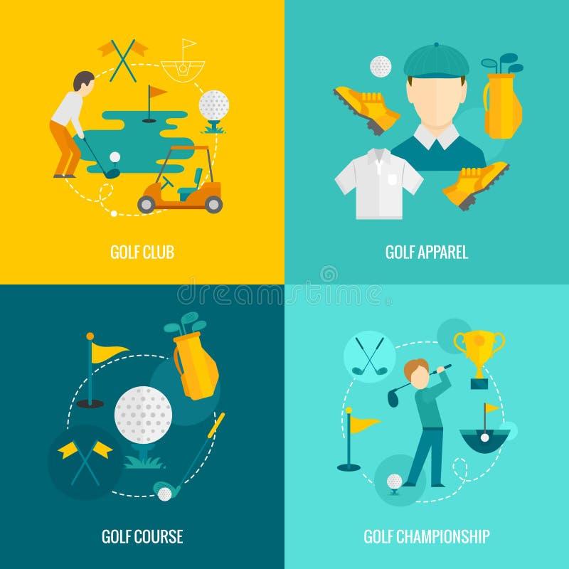Icônes de golf plates illustration libre de droits