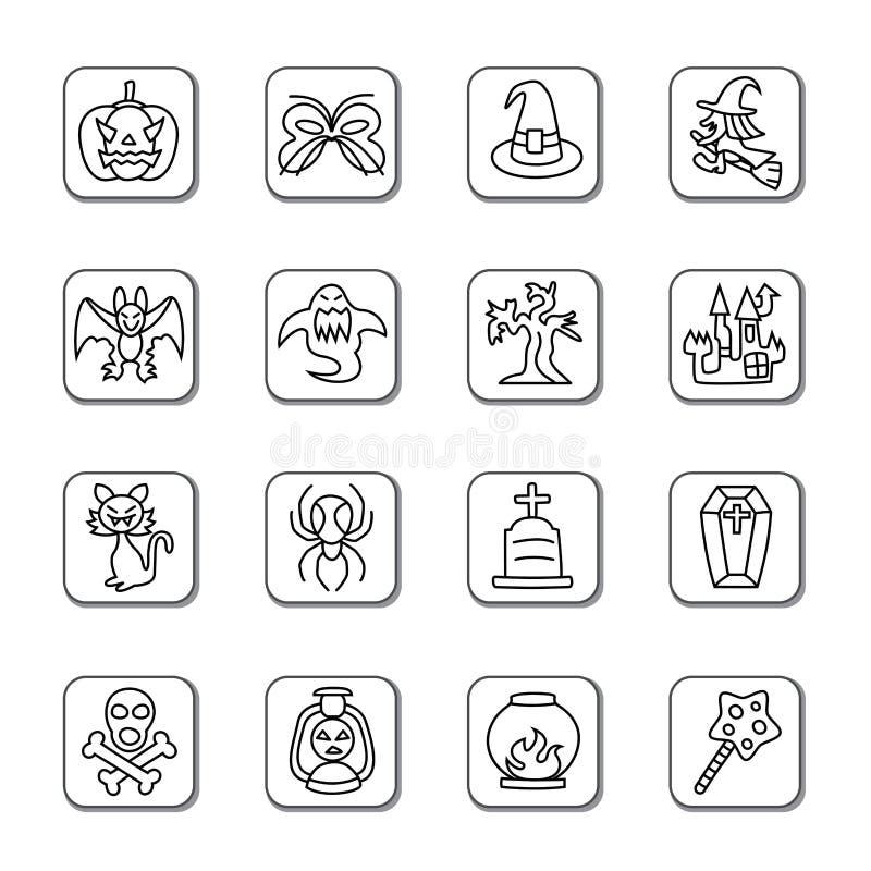 Icônes de griffonnage de Halloween illustration de vecteur