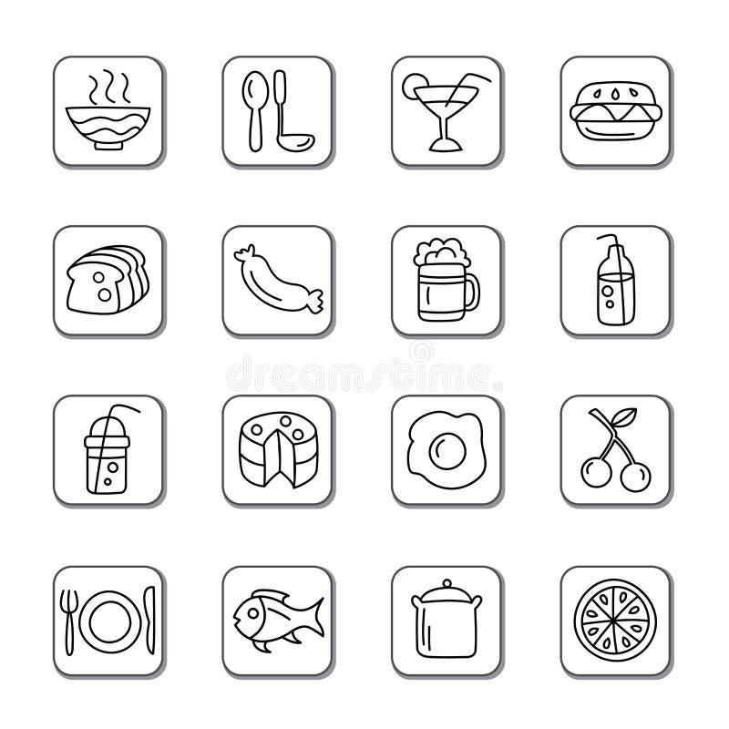 Icônes de griffonnage de nourriture et de boissons illustration libre de droits