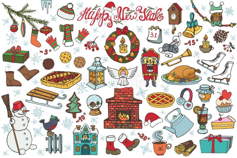 Icônes de griffonnage de saison de nouvelle année, symboles coloré illustration libre de droits