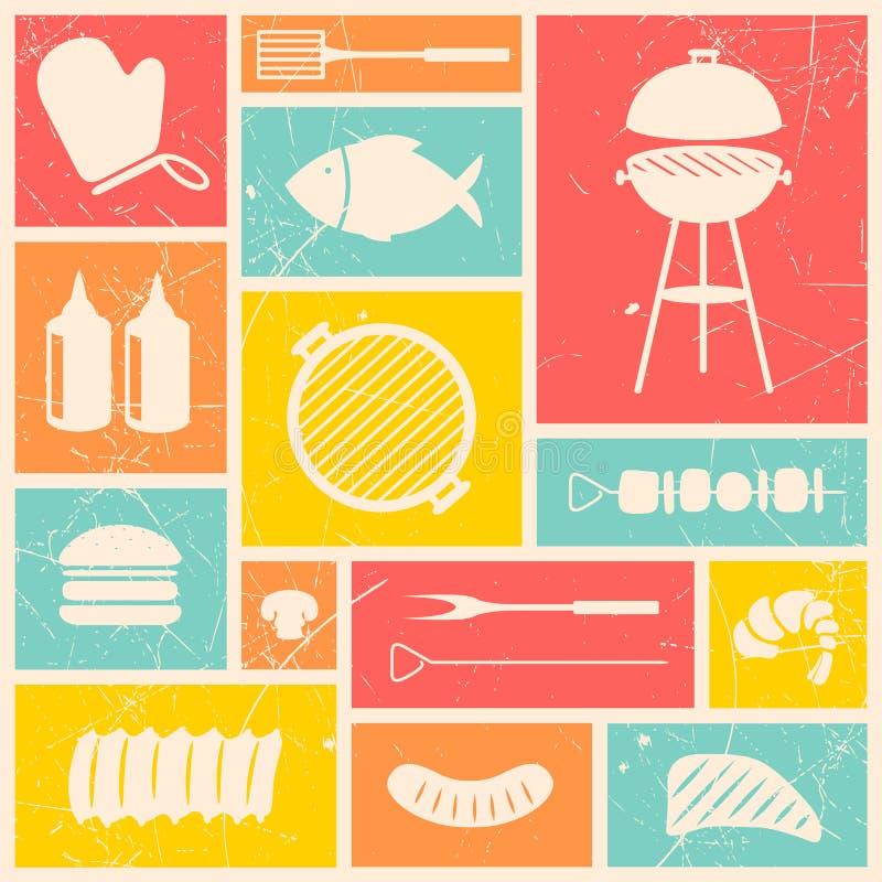 Icônes de gril de barbecue illustration libre de droits