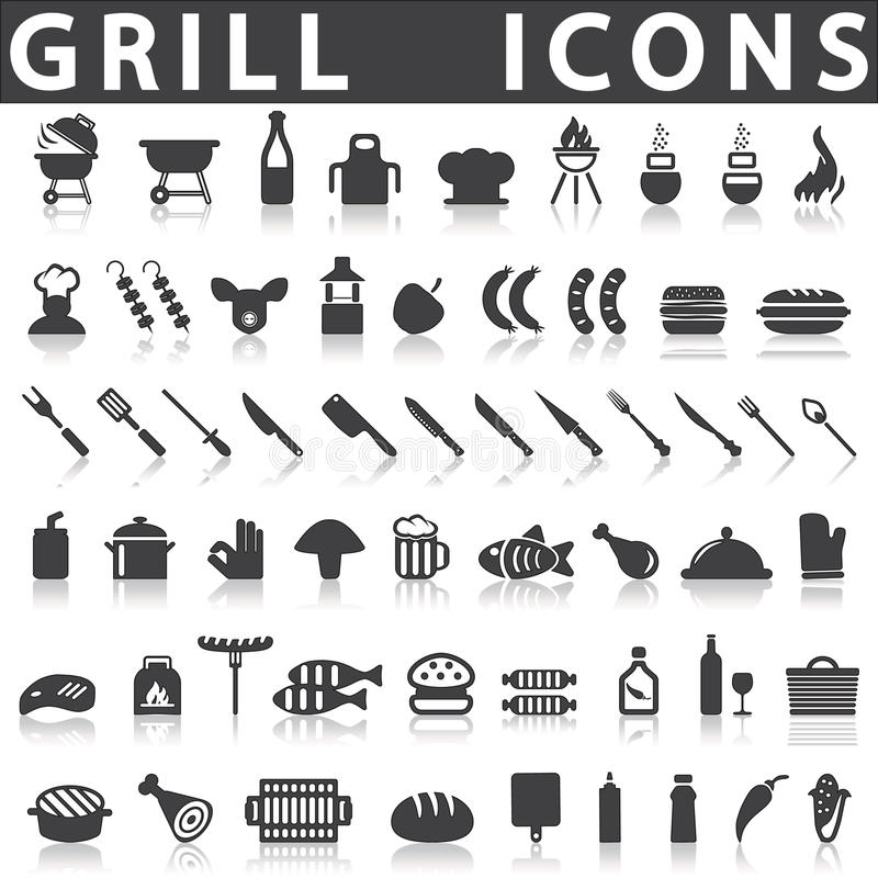 Icônes de gril ou de barbecue illustration stock