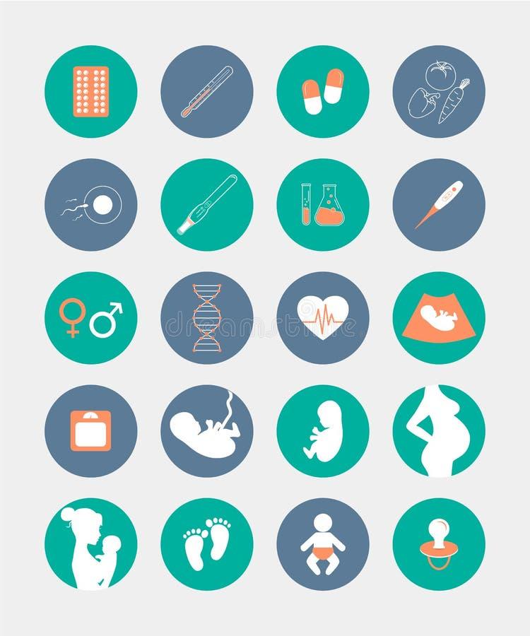 Icônes de grossesse et de naissance réglées illustration de vecteur