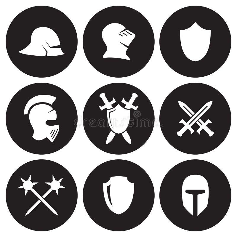 Icônes de guerre de Moyens Âges réglées illustration libre de droits