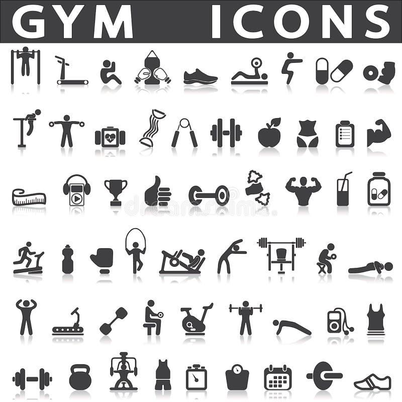 Icônes de gymnase illustration stock