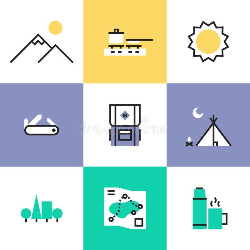 Icônes de hausse et campantes de pictogramme réglées illustration libre de droits