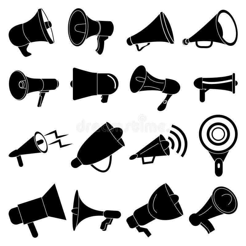 Icônes de haut-parleur de mégaphone réglées illustration stock
