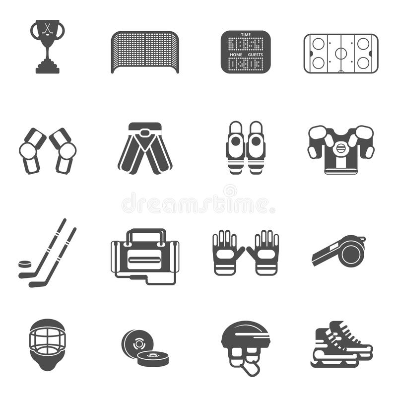 Icônes de hockey sur glace réglées illustration de vecteur