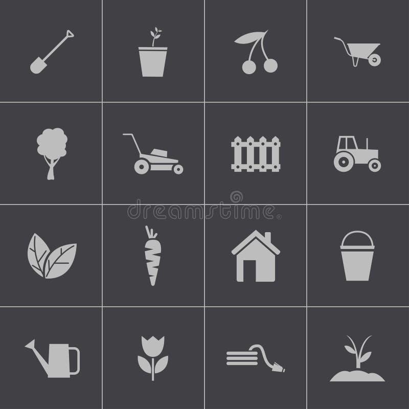 Icônes de jardinage de noir de vecteur réglées illustration stock