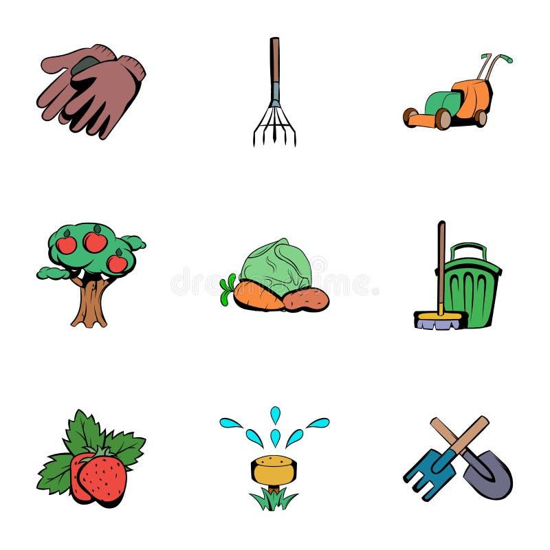 Icônes de jardinier réglées, style de bande dessinée illustration libre de droits