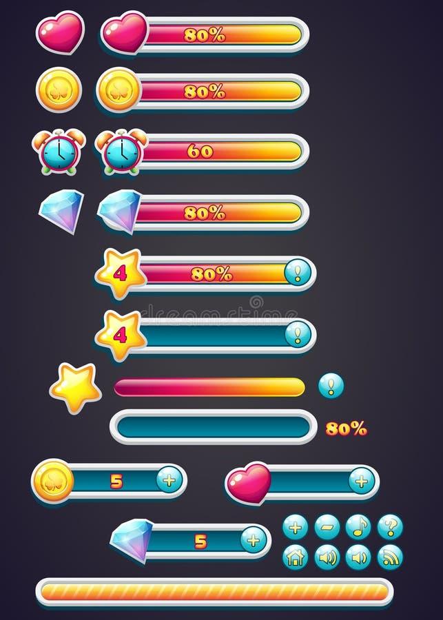 Icônes de jeu avec la barre de progrès, le creusement, aussi bien qu'un téléchargement de barre de progrès pour des jeux d'ordina illustration stock