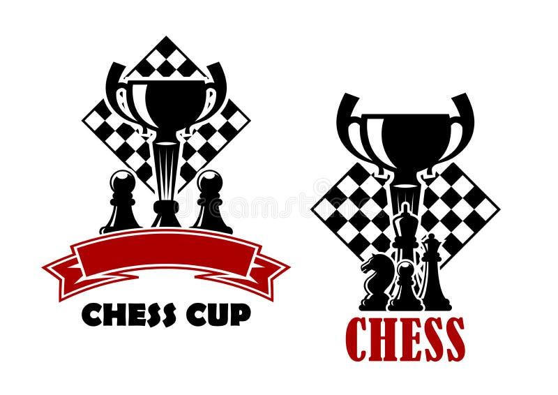 Icônes de jeu d'échecs avec la tasse et les pions illustration libre de droits
