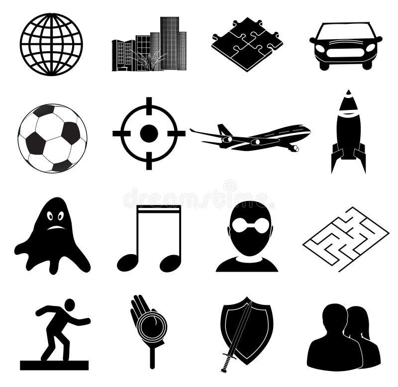Icônes de jeux réglées illustration de vecteur