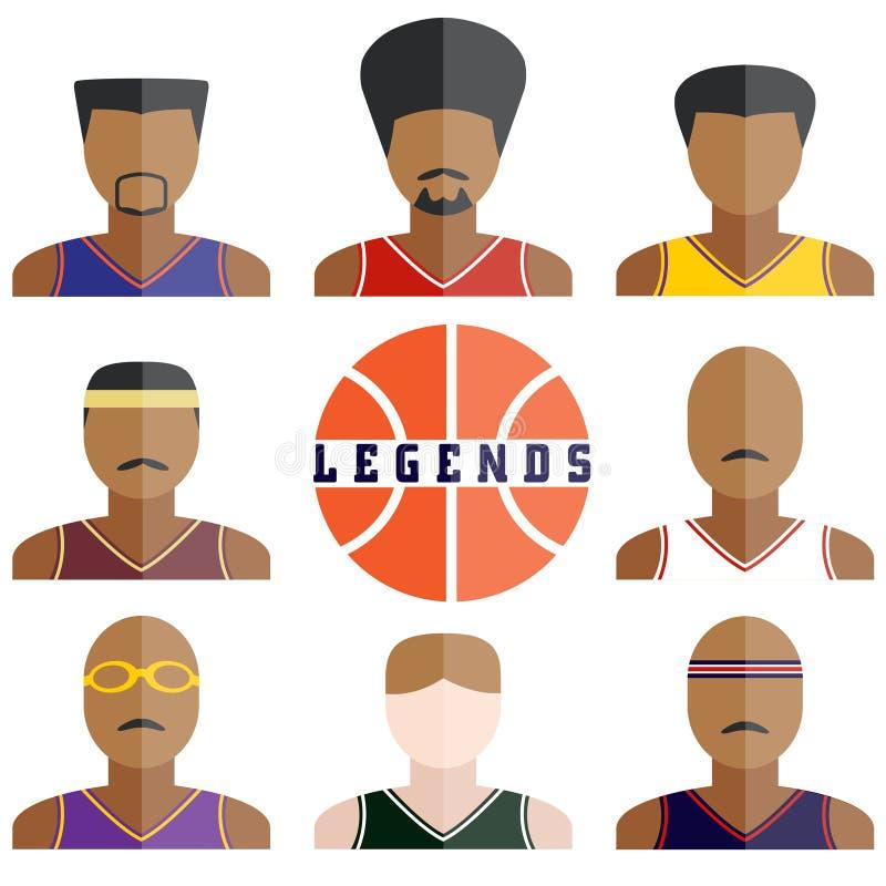 Icônes de joueurs de basket de légende dans la conception plate illustration de vecteur