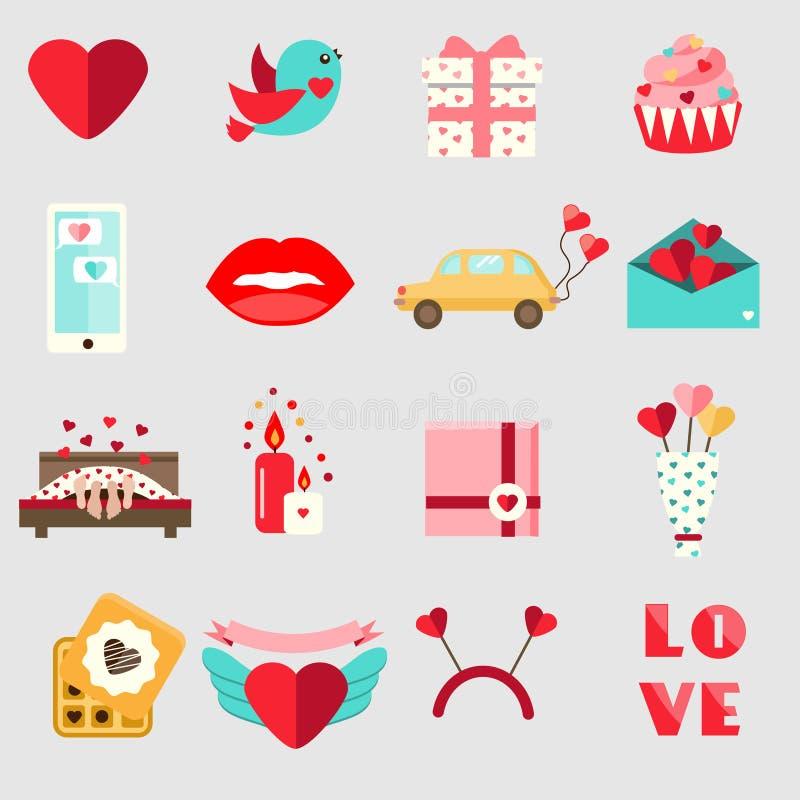 Icônes de jour du ` s de St Valentine Ensemble de romantique plat coloré, symboles de vacances d'amour illustration stock