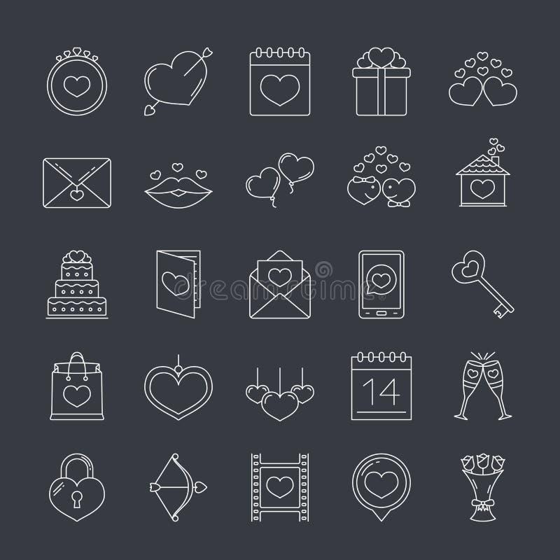 Icônes de jour du ` s de Valentine illustration libre de droits