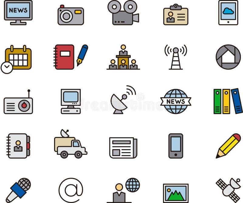 Icônes de journalisme et de media illustration libre de droits