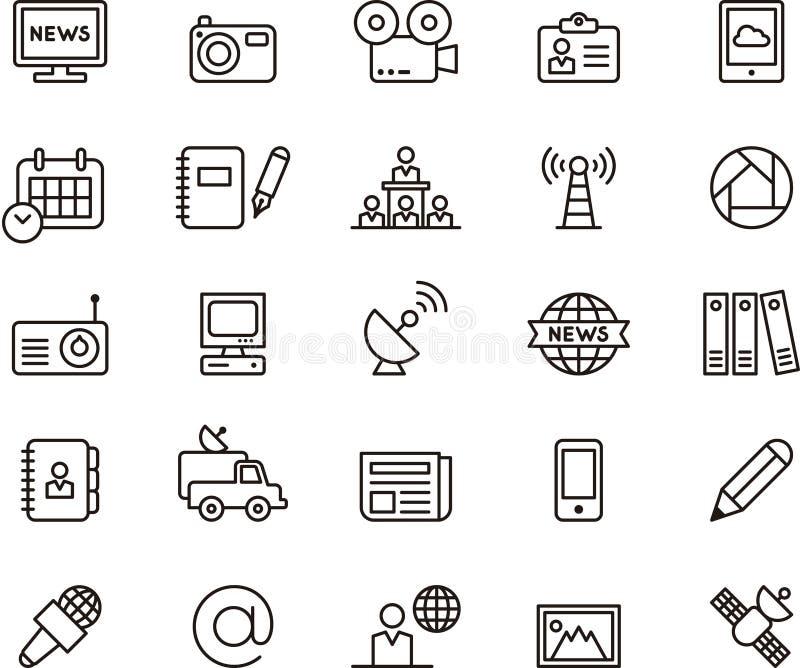 Icônes de journalisme et de media illustration de vecteur